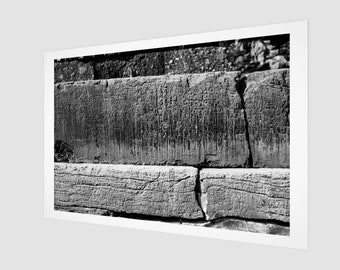Ancient Writing on Stone Blocks Art Print, 1:50 Limited Edition / black and white / photography / photo / home decor / decoration / wall art
