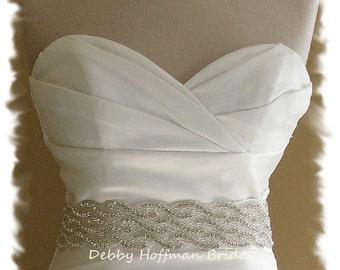 Jeweled Crystal Bridal Belt, 25 Inch Wedding Dress Sash, Beaded Rhinestone Wedding Belt, Wide Bridal Sash, Wedding Dress Belt, No. 1121S3-25