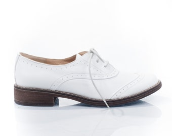 Jessie White Leather Oxford Shoes