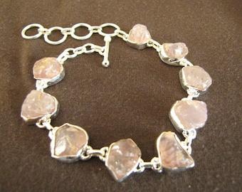 Sterling Silver Rough Rose Quartz Gemstone Bracelet