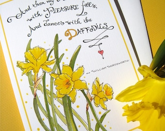 Inspirational Card - Encouragement, Get Well Card - Literary Quote - Wordsworth Poem - Dances with Daffodils
