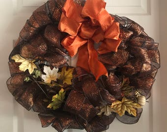 Fall wire mesh wreath