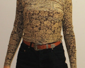 Vintage sparkled paisley brown and gold zipped womens