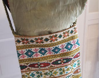 Vintage Embroidered Flap top purse