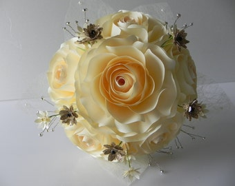 Rose Paper Wedding Bouquet with Matching Boutonniere in Ivory and Gold