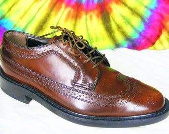 7.5 D men vintage brown leather Oakwoods wing-tip longwing oxfords shoes