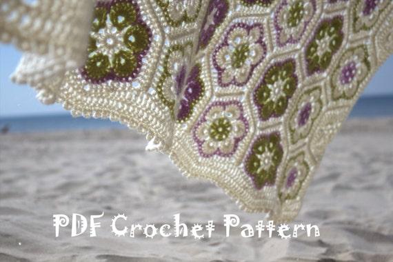 Crocheted Afghan African Flower - Blanket - Throw - DIY - PDF ...