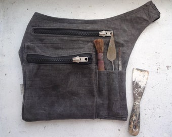 Grey Waxed Canvas Hip Pack, Utility bag, Waxed Utility belt Bag, Travel Pouch, Grey Travel Pouch Waist Bag