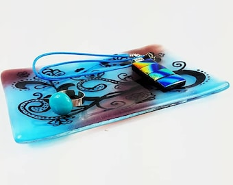 Blue and purple fused glass dish, paisley design, Fused glass trinket dish, Glass soap dish, Glass platter, Home decor by AMEArtistry2017