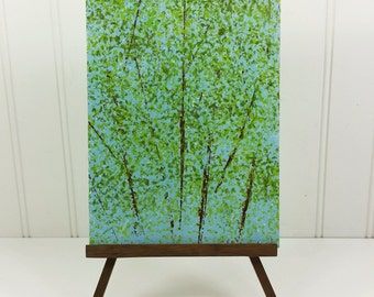 Spring Trees Abstract Landscape Painting, Soft Green Leaves Acrylic on Canvas Panel