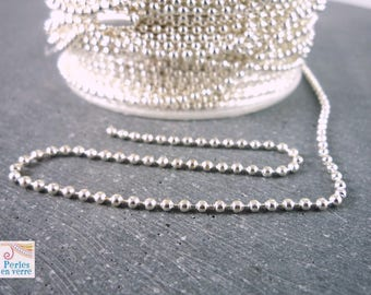5 m chain beads silver plated nickel, 1.5 mm (ch16)