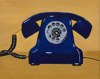 Vintage Rotary phone - Acrylic painting on Canvas