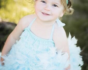 Aqua feather dress