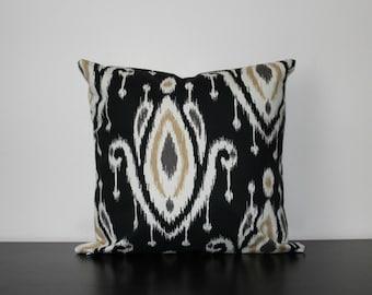 Decorative Throw Pillow, Ikat Pillow Cover, Black Pillow Cover, Toss Pillow, Sofa Pillow, Throw Pillow, Accent Pillow, Bedroom Pillow