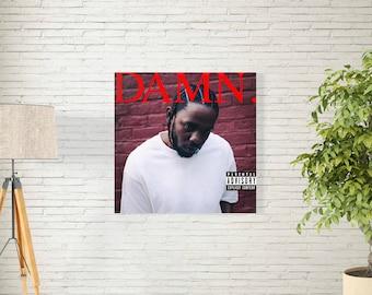 "Kendrick Lamar Poster - Damn Studio Album Music Cover - American Rapper - Hip Hop Artist Print - Size 12x12"" 18x18 24x24"" 32x32"""