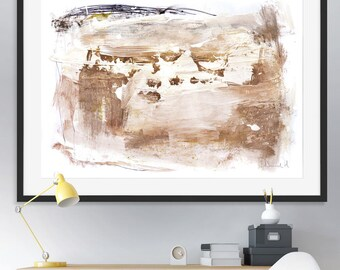 Printable Abstract Art, White and Gold Decor, instant download art, Large Abstract Art, Large Landscape Art, A0 Print, living room art