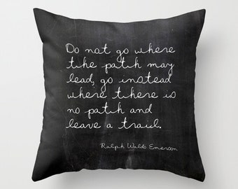 Quote Pillow Emerson, Inspirational Pillow, Ralph Waldo Emerson, Gifts for Her, Gifts for Him, Black and White Pillow Cover, 18x18, 22x22