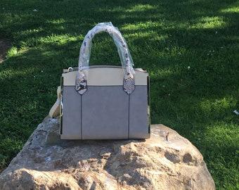 New Tan vegan Leather and Snake Skin handle handbag.