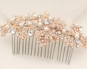 Wedding hair accessories,Wedding hair comb Rose gold  tone hair piece,Bridal hair comb pearl,Rose gold bridal comb,Wedding decorative combs