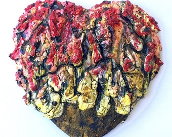 handmade original wood and plaster Heart, painted wall sculpture, red, yellow