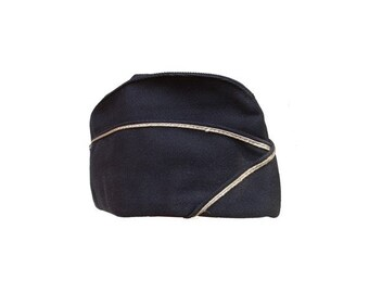 Vintage flight hat Army women wedge CAP // wool blue hat // steampunk