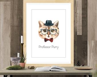 Professor Purry Digital Cat Print