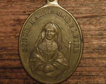 """Antique French religious bronze medal pendant """"Sister Marie Madeleine"""""""