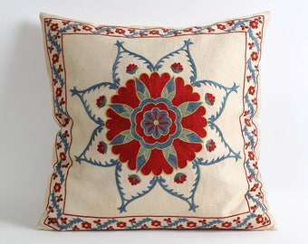 Red blue floral Silk Suzani Cushion Cover - silk pillows