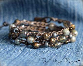 Crocheted Bead Bracelet, Crocheted Jewelry, Crochet Bead Necklace, Beaded Crochet Wrap. Beaded Crochet Jewelry, Beaded Crochet Bracelet Wrap