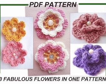 CROCHET Flowers PATTERN number 59 , 3 fabulous flower, Instant Download