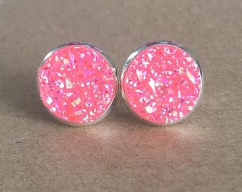Pink Glittery Druzy Earrings /Pink Faux Druzy Stud Earrings/Pink Druzy Earrings