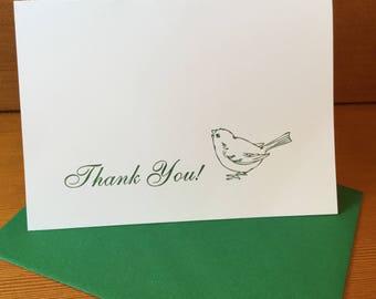 Sweet Little Bird Letterpress Thank You Card