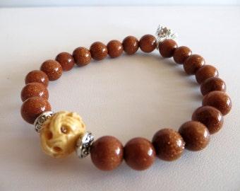 Goldstone Bracelet-Energy Bracelet With Silver Crown-Sale Jewelry