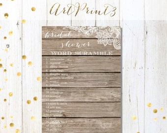 Bridal Shower Word Scramble Game Printable, Wood&Lace Bridal Shower Game, Rustic Bridal Shower Game Printable, Wedding Shower Fun Activity