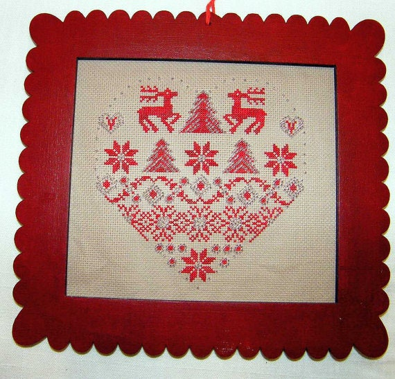 Red Frame for mounting cross stitch, patchwork, photos. Used for ...