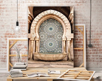 Print Fine Art or canvas - fountain Moroccan - mosque Hassan II - Casablanca - Morocco - wall decor - travel