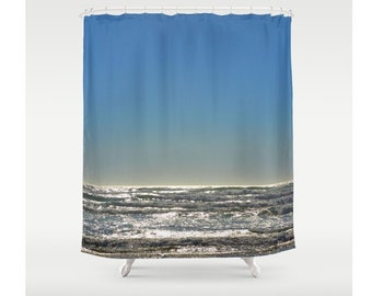 Ocean Shower Curtain Waves Sea Decor Beach Cottage Decor Sweet Things Water Bathroom Decor Marine Ocean Waves