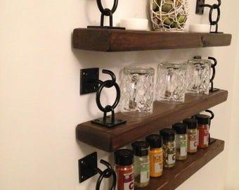 Rustic Handmade Chunky Floating Shelves With Brackets