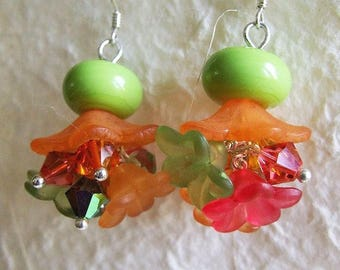 Orange and green floral Lampwork, Crystal, lucite and Sterling Silver earrings