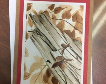 Old Wooden Post Art Print Handmade Greeting Card