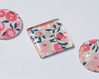 Set of 3 Liberty Print Glass Cabochons for Jewellery Making, Bead Embroidery, Beadweaving