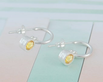 Citrine Hoops, Gemstone Earrings, Silver Dangle Earring, Silver Hoops, November Birthstone, Yellow Gemstone, Birthstone Earrings, 925 Silver