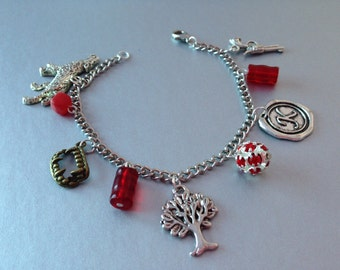 The Originals Charm Bracelet Red and Silver, Vampire Diaries bracelet
