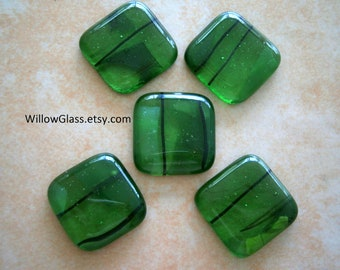 Fused Glass Cabochons 5 Green Transparent Shards and Frit, Willow Glass Cabochons, SALE Glass Cabs