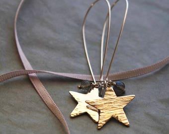 Silver Birch Long Silver Star Earrings Labradorite AA Gemstone Oversized Earwires