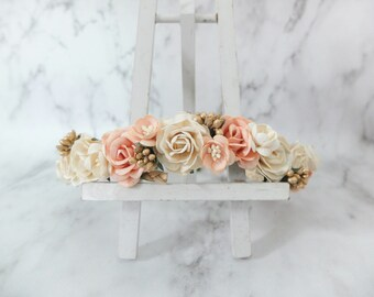 Ivory peach gold wedding flower crown bridal floral hair wreath flower headpiece girl bridesmaids hair accessories