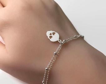 Sterling Silver Skull Bracelet, Sterling Silver Double Layering Sugar Skull Bracelet, Silver bracelet, Sugar skull