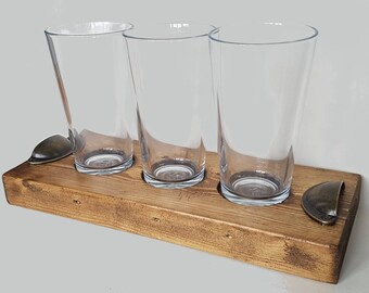 Rustic Wooden 3 pint craft beer ale flight sampler tray paddle with handles