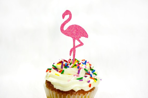 12 Pink Glitter Flamingo Cupcake Toppers.  Bachelorette Party. Engagement Party. Pink Flamingo Party. Birthday Party Decor. Tropical Party.