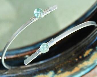 Bracelet aquamarine genuine - 925 sterling silver cross ring - blue gemstone - April birthstone cuff bracelet